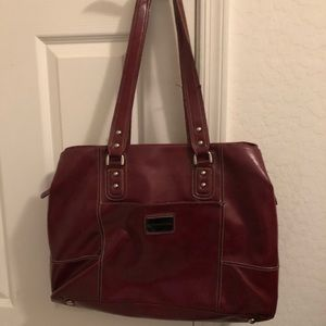Large red leather laptop bag